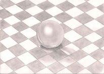Schachbrett, 3d, Kugel, Schatten