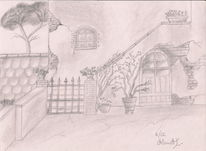 Haus, Mauer, Innenhof, Garten