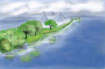 Landschaft, Meer, Berge, See