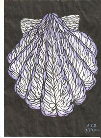 Jakobsmuschel, Schwarz weiß, Muschel, Temperamalerei