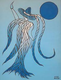 Frau, Malerei, Acrylmalerei, Mond