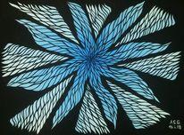 Schwarz, Abstrakt, Blumen, Pinsel