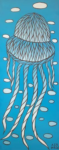 Blau, Acrylmalerei, Qualle, Medusa