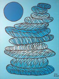 Mond, Blautöne, Stein, Nacht
