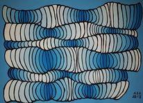Pinsel, Acrylmalerei, Oben, Blautöne