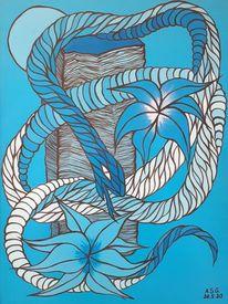 Malerei, Acrylmalerei, Felsen, Pinsel