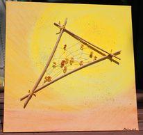Acrylmalerei, Collage, Bernstein, Malerei