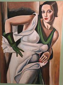 Portrait, Gemälde, Dame, Handschuhe