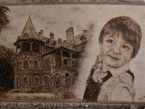 Kinderportrait, Holz, Brandmalerei, Portrait
