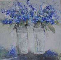 Blau, Blatt und blüte, Blumen, Grau