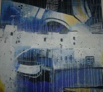 Blau, Modern, Abstrakt, Landschaft