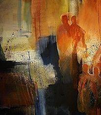 Menschen, Abstrakt, Acryl auf leinwand, Malerei