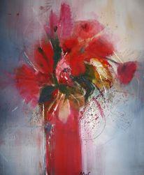 Blumen, Rot, Vase, Malerei