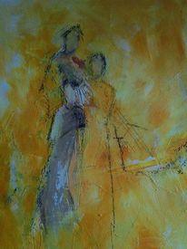 Menschen, Gelb, Familie, Acrylmalerei