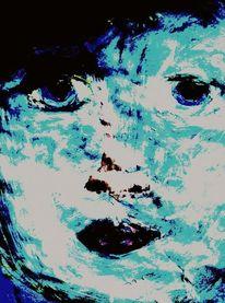 Frau blau, Digitale kunst, Augen