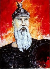 Gjergj kastrioti, Ölmalerei, Spachteltechnik, Skenderbeu