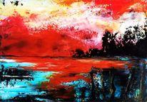 Spachteltechnik, Öl auf karton, Landschaft, Malerei