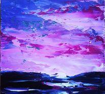 Abendstimmung, Ölmalerei, Spachteltechnik, Malerei