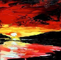 Sonnenaufgang, Spachteltechnik, Ölmalerei, Malerei