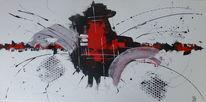 Acrylmalerei, Rot schwarz, Struktur, Weiß
