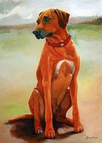 Gemälde, Jagd, Rhodesian ridgeback, Orange