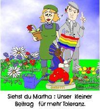 Toleranz, Schrebergarten, Regenbogen, Zeichnungen