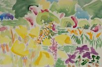 Abstrakte kunst, Pflanzen, Abstraktes gartenbild, Botanik