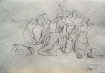 Tanz, Tanzgruppe, Ausdruckstanz, Bleistiftzeichnung