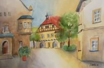 Regensburg, Stadtansicht, Architektur, Original aquarell
