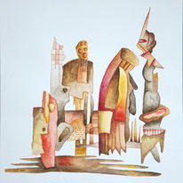 Abstrakt, Szene, Aquarell, Theater