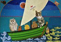 Boot, Eule, Katze, Mischtechnik