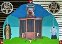 Schwein, Heiligenschein, Beichtstuhl, Messdienerkleid