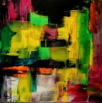 Abstrakte kunst, Abstrakt, Rakeltechnik, Acrylmalerei