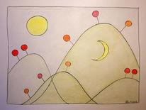 Zeichnung, Sonne, Mond, Berge