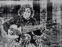 Holzschnitt, Musiker, Sarod, Sarodspieler