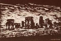 Mythologie, Linoldruck, Stonehenge, Linosnede