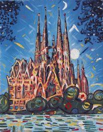 Gaudi, Ölmalerei, Barcelona, Malerei