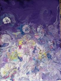 Pouring, Blumenwiese, Acrylmalerei, Malerei