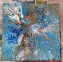 Acrylmalerei, Pouring, Abstrakt, Mischtechnik