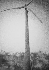 Windrad, Wind turbine, Pointillismus, Dots