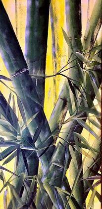 Wald, Blätter, Bambus, Malerei