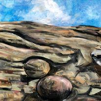 Stein, Kugel, Landschaft, Malerei