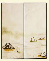 Japan, Tuschmalerei, Fusuma, Aquarell
