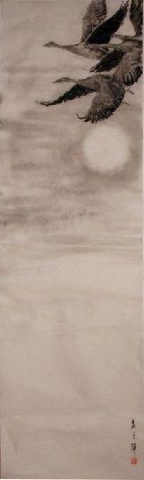 Tusch malerei, Japanische papier, Vogel, Aquarell
