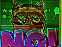 Digitale kunst, Katze, Vorsicht, Glas