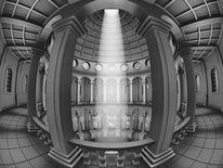 Symmetrie, Lichtkegel, Streulicht, Haus