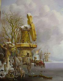 Windmühle, Romantiek, Dampfmachine, Ezel