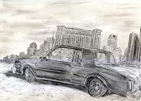 Autoindustie, Skyline, Wirtschafstskrise, Bleistiftzeichnung
