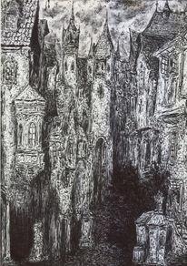 Stadt, Turm, Dunkel, Häuser