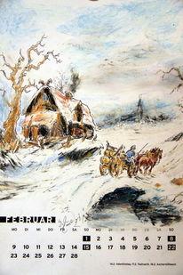 Baum, Pferde, Kalender, Schnee